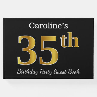 Black, Faux Gold 35th Birthday Party + Custom Name Guest Book