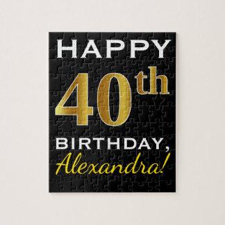 Black, Faux Gold 40th Birthday + Custom Name Jigsaw Puzzle