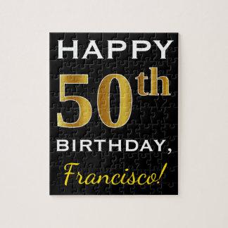 Black, Faux Gold 50th Birthday + Custom Name Jigsaw Puzzle