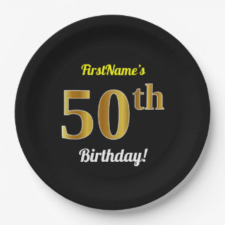 Black, Faux Gold 50th Birthday + Custom Name Paper Plate