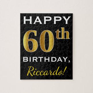 Black, Faux Gold 60th Birthday + Custom Name Jigsaw Puzzle