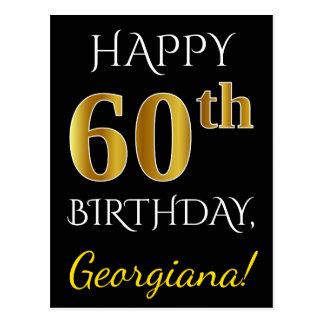 Black, Faux Gold 60th Birthday + Custom Name Postcard