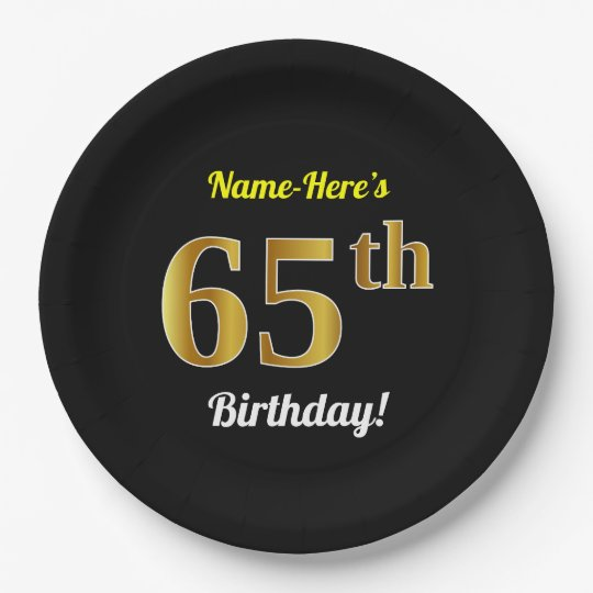 Black, Faux Gold 65th Birthday + Custom Name