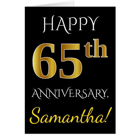 Black, Faux Gold 65th Wedding Anniversary + Name