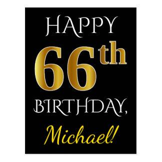 Black, Faux Gold 66th Birthday + Custom Name Postcard