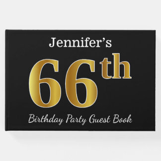 Black, Faux Gold 66th Birthday Party + Custom Name Guest Book