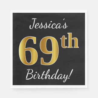 Black, Faux Gold 69th Birthday + Custom Name Disposable Serviette