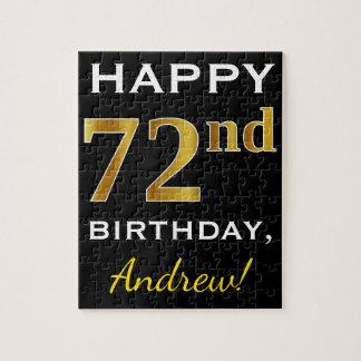 Black, Faux Gold 72nd Birthday + Custom Name Jigsaw Puzzle