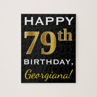 Black, Faux Gold 79th Birthday + Custom Name Jigsaw Puzzle