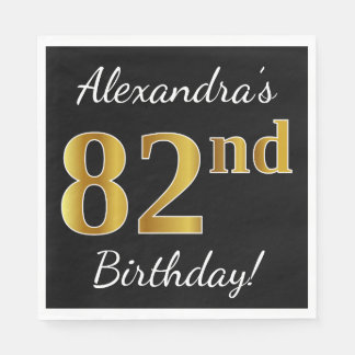 Black, Faux Gold 82nd Birthday + Custom Name Disposable Serviette