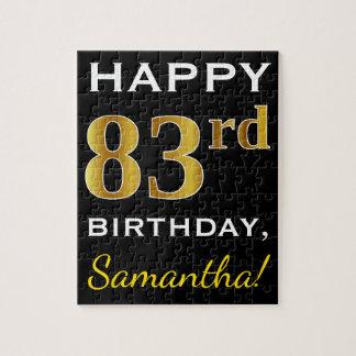 Black, Faux Gold 83rd Birthday + Custom Name Jigsaw Puzzle