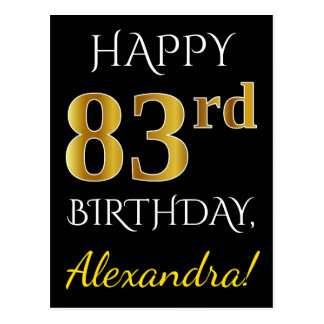 Black, Faux Gold 83rd Birthday + Custom Name Postcard