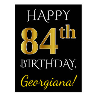 Black, Faux Gold 84th Birthday + Custom Name Postcard