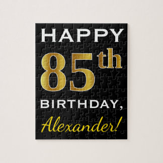 Black, Faux Gold 85th Birthday + Custom Name Jigsaw Puzzle