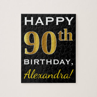 Black, Faux Gold 90th Birthday + Custom Name Jigsaw Puzzle