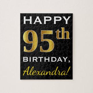 Black, Faux Gold 95th Birthday + Custom Name Jigsaw Puzzle