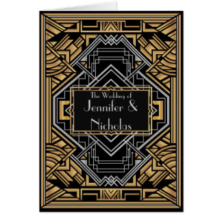 Black, Faux Gold and Silver Art Deco Gatsby Style Card