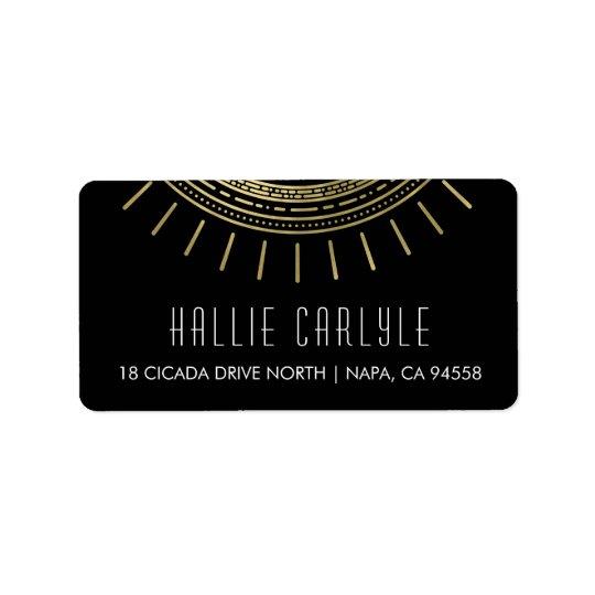 Black & Faux Gold Art Deco Style Return Label