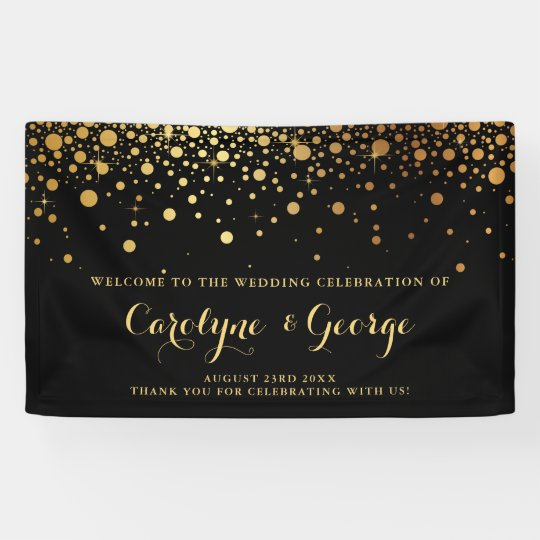 Black | Faux Gold Confetti Wedding Welcome Banner