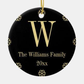 Black Faux Gold Custom Monogram Name Christmas Christmas Ornament