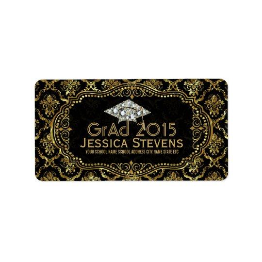 Black & Faux Gold Damasks & Glitter Grad Hat 2 Label