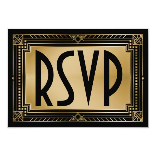 Black & Faux Gold Gatsby Geometric Wedding RSVP