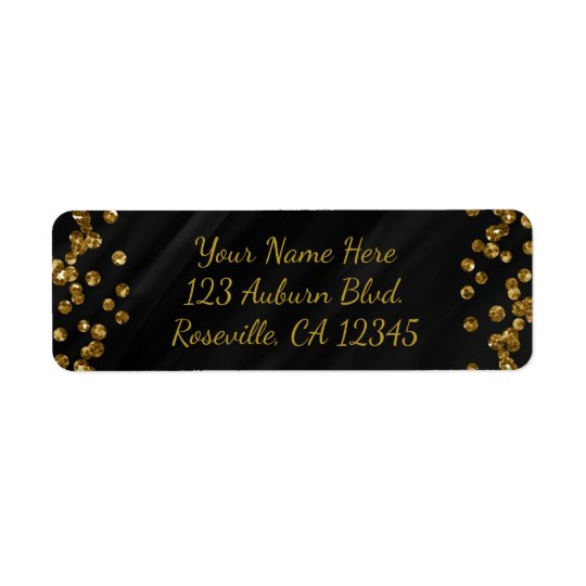 Black & Faux Gold Glitter Glamour Dots Modern Return Address Label