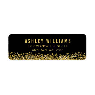 Black Faux Gold Glitter Return Address Label