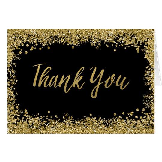 Black Faux Gold Glitter Thank You Card Zazzle Co Uk