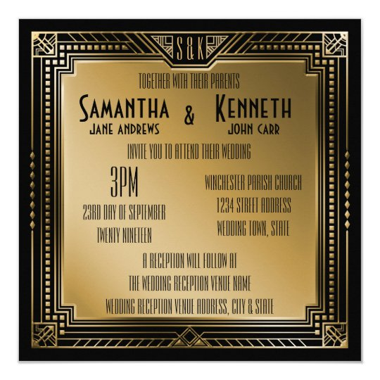 Black & Faux Gold Great Gatsby Geometric Wedding