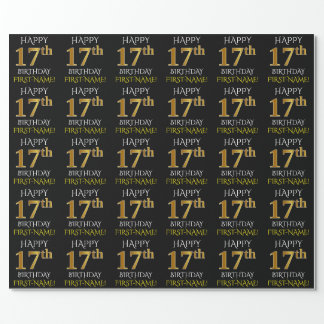"""Black, Faux Gold """"HAPPY 17th BIRTHDAY"""" Wrapping Paper"""