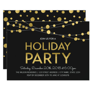 Black Faux Gold Strings of Lights Holiday Party Card