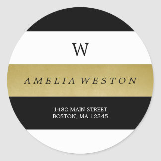 Black & Faux Gold Stripes | Return Address Label