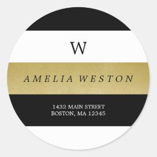 Black & Faux Gold Stripes | Return Address Label Round Sticker