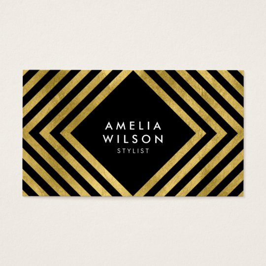 Black Faux Gold Stylist Social Media Elegant Business Card