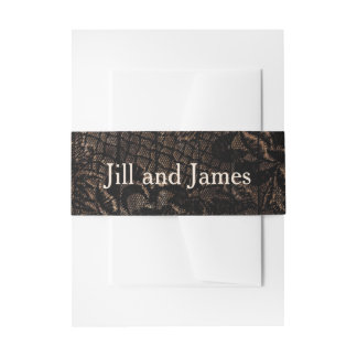 Black Faux Lace Wedding Invitation Belly Band