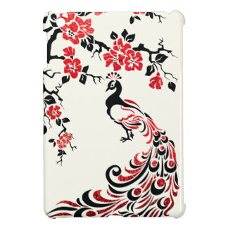 Black, faux red foil peacock & cherry blossoms iPad mini cases