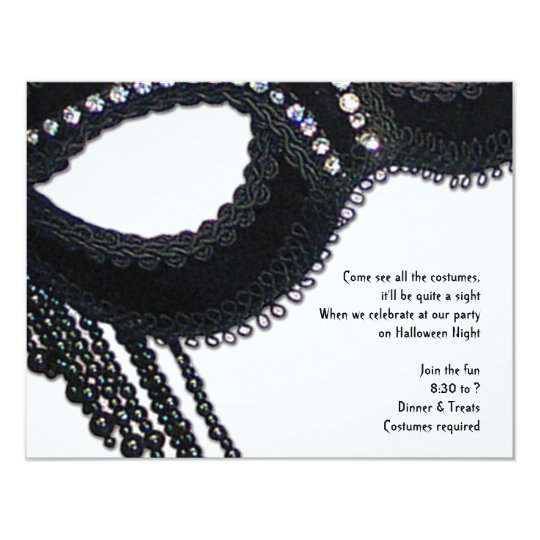 Black Faux Rhinestone Mask Halloween Invitation