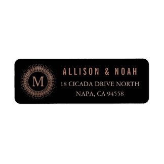 Black & Faux Rose Gold Deco Initial Monogram Return Address Label