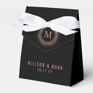 Black & Faux Rose Gold Deco Monogram Favour Boxes