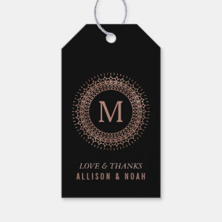 Black & Faux Rose Gold Deco Monogram Wedding Favor Gift Tags