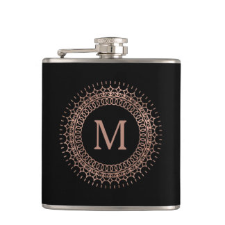 Black & Faux Rose Gold Elegant Initial Monogram Flask
