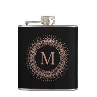 Black & Faux Rose Gold Elegant Initial Monogram Hip Flask