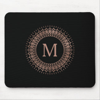 Black & Faux Rose Gold Elegant Initial Monogram Mouse Pad