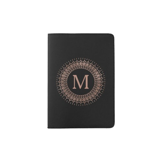 Black & Faux Rose Gold Elegant Initial Monogram