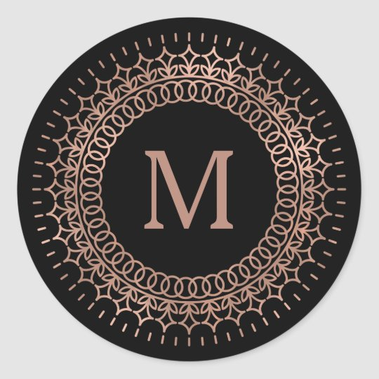 Black & Faux Rose Gold Medallion Monogram Classic
