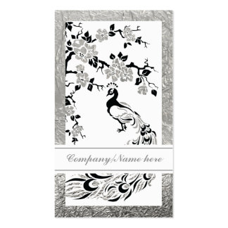 Black faux silver foil peacock and cherry blossoms business card