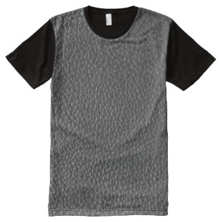 Black Faux Worn Leather All-Over Print T-Shirt