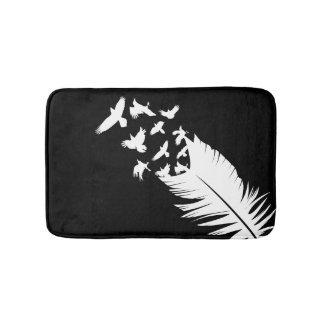 Black, Feather, Flying Birds Bath Mats