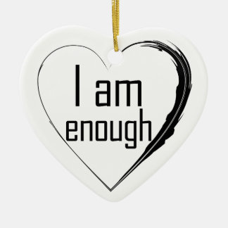 black feathered heart 'I am enough' Ceramic Heart Decoration